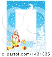 Clipart Of A Vertical Frame Of A Happy Winter Snowman With A Bell Royalty Free Vector Illustration