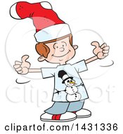 Clipart Of A Cartoon Silly Caucasian Boy Giving Two Thumbs Up And Wearing A Christmas Stocking On His Head Royalty Free Vector Illustration by Johnny Sajem