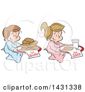 Clipart Of Cartoon Happy Caucasian Children Carrying Cookies And Milk For Reindeer And Santa Royalty Free Vector Illustration