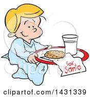 Clipart Of A Cartoon Happy Blond Caucasian Boy Carrying A Cookie And Glass Of Milk For Santa Royalty Free Vector Illustration
