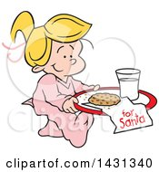 Clipart Of A Cartoon Happy Blond Caucasian Girl Carrying A Cookie And Glass Of Milk For Santa Royalty Free Vector Illustration