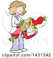 Clipart Of A Cartoon Happy Festive Caucasian Woman Holding An Ugly Christmas Sweater Royalty Free Vector Illustration