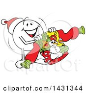 Clipart Of A Cartoon Happy Festive Moodie Character Emoticon Holding An Ugly Christmas Sweater Royalty Free Vector Illustration