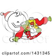 Cartoon Unahppy Moodie Character Emoticon Holding An Ugly Christmas Sweater