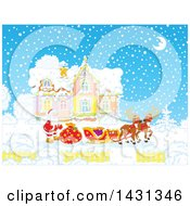 Clipart Of A Scene Of Reindeer Waiting As Santa Loads His Sleigh With Christmas Gifts In Front Of His Home In The Snow Royalty Free Vector Illustration