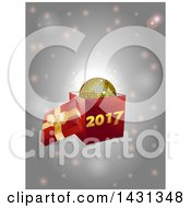 3d Open Gift Box With A Gold Disco Ball And New Year 2017 Over Flares