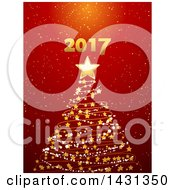 Gold Star And Spiral Christmas Tree With New Year 2017 Over Red