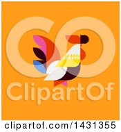 Clipart Of A Colorful Patchwork Style Rooster On An Orange Background Royalty Free Vector Illustration