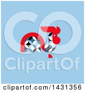 Clipart Of A Circle Patterned Red Blue And White Rooster On A Blue Background Royalty Free Vector Illustration by elena