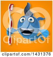 3d Blue Fish Holding A Toothbrush