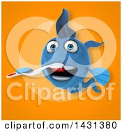 Clipart Of A 3d Blue Fish Holding A Toothbrush Royalty Free Illustration