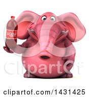 Clipart Of A 3d Pink Elephant Holding A Soda Bottle On A White Background Royalty Free Illustration