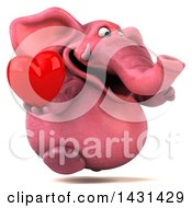 Poster, Art Print Of 3d Pink Elephant Holding A Love Heart On A White Background