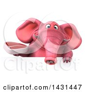 Clipart Of A 3d Pink Elephant Holding A Beef Steak On A White Background Royalty Free Illustration