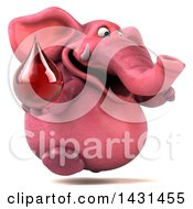 Clipart Of A 3d Pink Elephant Holding A Blood Or Hot Water Drop On A White Background Royalty Free Illustration