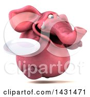 Clipart Of A 3d Pink Elephant Holding A Plate On A White Background Royalty Free Illustration