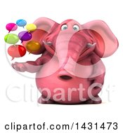 Clipart Of A 3d Pink Elephant Holding Speech Bubbles On A White Background Royalty Free Illustration