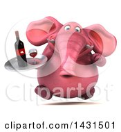 Clipart Of A 3d Pink Elephant With Wine On A White Background Royalty Free Illustration by Julos