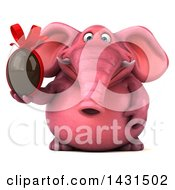 Clipart Of A 3d Pink Elephant Holding A Chocolate Egg On A White Background Royalty Free Illustration by Julos