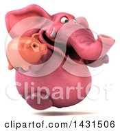 Clipart Of A 3d Pink Elephant Holding A Piggy Bank On A White Background Royalty Free Illustration by Julos