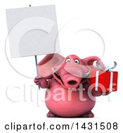 Clipart Of A 3d Pink Elephant Holding A  On A White Background Royalty Free Illustration by Julos