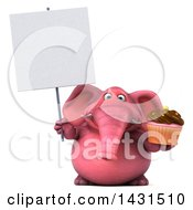 Clipart Of A 3d Pink Elephant Holding A Cupcake On A White Background Royalty Free Illustration by Julos