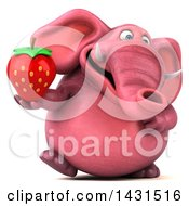 Clipart Of A 3d Pink Elephant Holding A Strawberry On A White Background Royalty Free Illustration by Julos