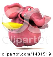 Clipart Of A 3d Pink Elephant Holding A Banana On A White Background Royalty Free Illustration by Julos