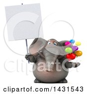 Clipart Of A 3d Elephant Holding Speech Bubbles On A White Background Royalty Free Illustration