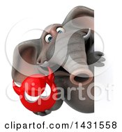 Clipart Of A 3d Elephant Holding A Devil Head On A White Background Royalty Free Illustration