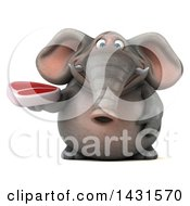 Clipart Of A 3d Elephant Holding A Beef Steak On A White Background Royalty Free Illustration
