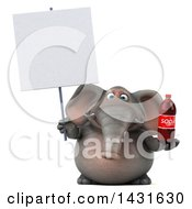 Clipart Of A 3d Elephant Holding A Soda Bottle On A White Background Royalty Free Illustration