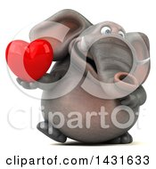 Poster, Art Print Of 3d Elephant Holding A Love Heart On A White Background