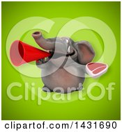 Clipart Of A 3d Elephant Holding A Beef Steak Royalty Free Illustration