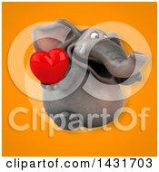 Poster, Art Print Of 3d Elephant Holding A Love Heart