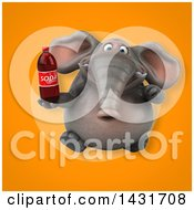 Clipart Of A 3d Elephant Holding A Soda Bottle Royalty Free Illustration