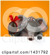 Clipart Of A 3d Elephant Holding A Chocolate Egg Royalty Free Illustration