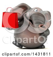 3d Elephant Holding A Shopping Bag On A White Background