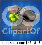 3d Elephant Holding An Earth Globe