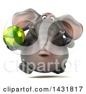 3d Elephant Holding An Earth Globe On A White Background
