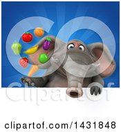 Clipart Of A 3d Elephant With Produce Royalty Free Illustration