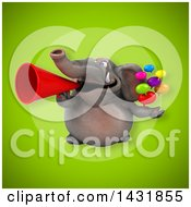 Clipart Of A 3d Elephant Holding Speech Balloons Royalty Free Illustration by Julos