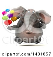 Clipart Of A 3d Elephant Holding Speech Balloons On A White Background Royalty Free Illustration by Julos