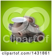 Clipart Of A 3d Elephant Holding A Plate Royalty Free Illustration