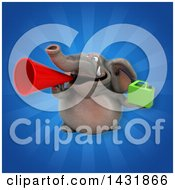 Clipart Of A 3d Elephant Holding A Gas Can Royalty Free Illustration