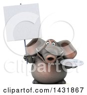 Clipart Of A 3d Elephant Holding A Plate On A White Background Royalty Free Illustration