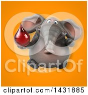 Clipart Of A 3d Elephant Holding A Blood Or Hot Water Drop Royalty Free Illustration