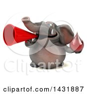 Clipart Of A 3d Elephant Holding A Blood Or Hot Water Drop On A White Background Royalty Free Illustration