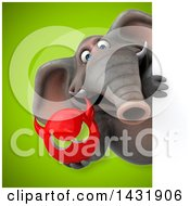 Clipart Of A 3d Elephant Holding A Devil Head Royalty Free Illustration