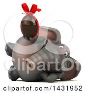 Clipart Of A 3d Elephant Holding A Chocolate Egg On A White Background Royalty Free Illustration